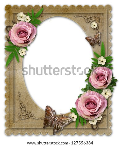 old vintage paper frame with flowers and butterfly  isolated  on white - stock photo