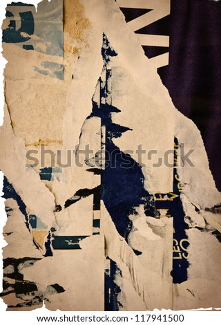 old vintage paper posters grunge textures and backgrounds - stock photo