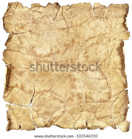 Old vintage paper texture or background isolated on white - stock photo