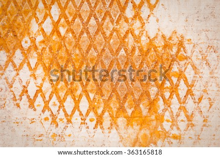 old vintage paper texture with printed rusty metal sign - stock photo