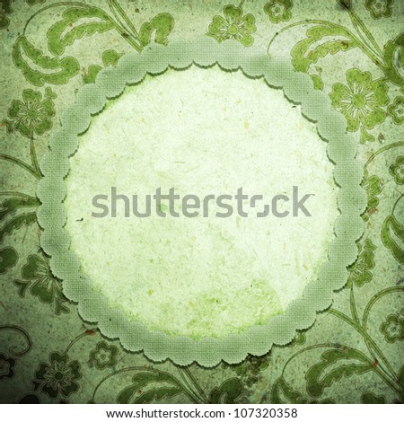 Old vintage paper with blank frame - stock photo