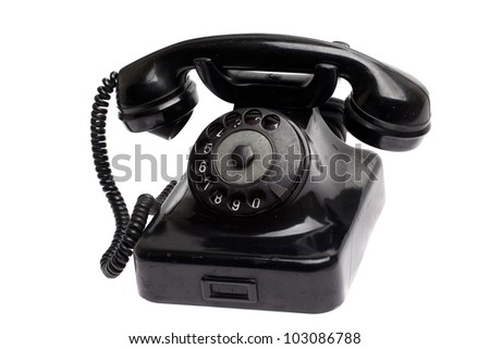 old vintage phone isolated - stock photo