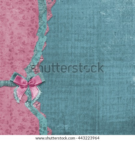 Old vintage photo album with beautiful bows and lace - stock photo