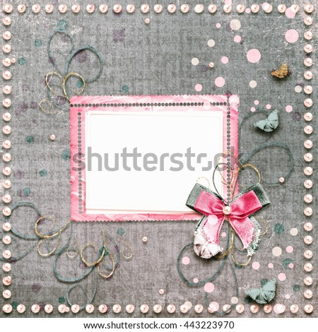 Old vintage photo album with beautiful bows, lace and flying butterflies - stock photo