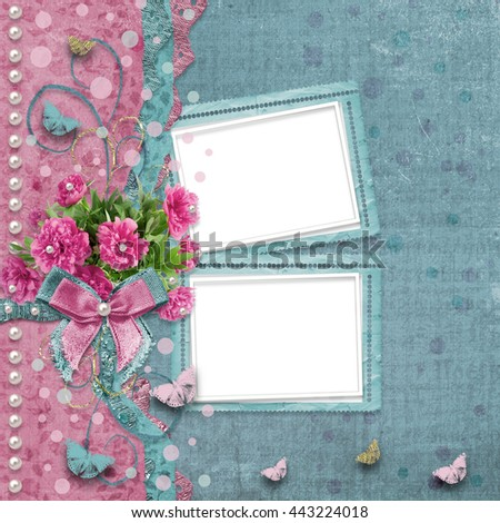 Old vintage photo album with beautiful pink peonies and butterflies flying - stock photo