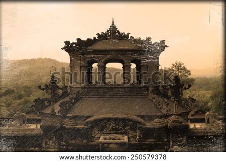 Old vintage photo. Thien Dinh Palace in hue, Vietnam - stock photo