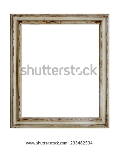 Old vintage picture frame isolated over a white background. - stock photo