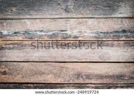 Old vintage planked wood board. - stock photo