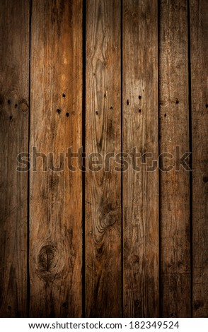 Old vintage planked wood board - rustic or rural background with free text space - stock photo