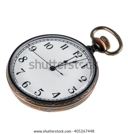Old vintage pocket watch isolated on a white background - stock photo