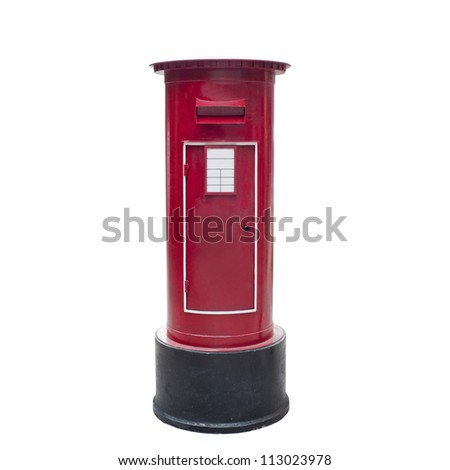 old vintage red mail box isolated on white background