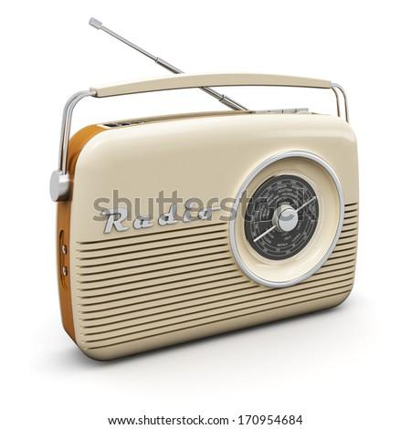 Old vintage retro style radio receiver isolated on white background - stock photo
