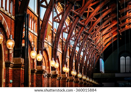 Old vintage roof structure at train station in Copenhagen, Denmark - stock photo