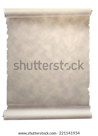 old vintage scroll isolated on white, original background or texture - stock photo