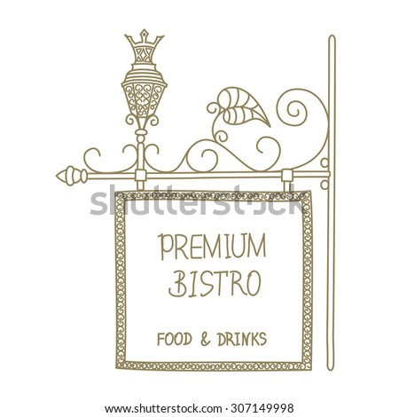 Old vintage signboard with lantern street and forged elements street,sketch - stock photo