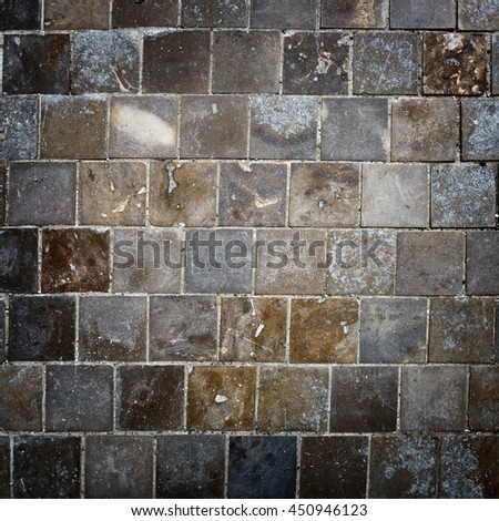 Old vintage square facing tiles.