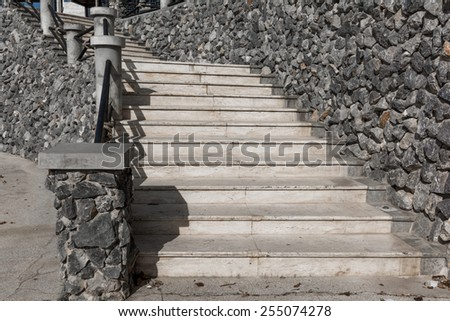 Old vintage stone stair way. - stock photo