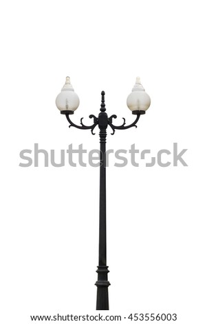 Old Vintage Street Lamp Post Lamppost Light Pole isolated on white