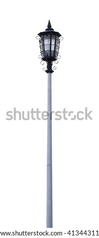 Old Vintage Street Lamp Post Lamppost Light Pole Isolated on white background. - stock photo