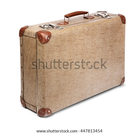 Old vintage suitcase front left isolated on white - stock photo