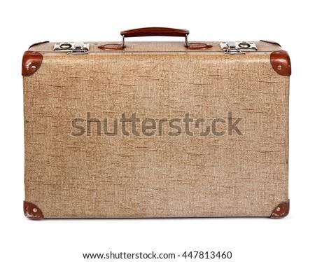 Old vintage suitcase isolated on white - stock photo