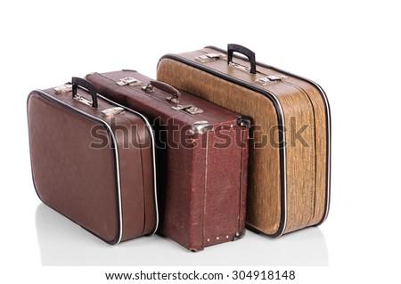 old vintage suitcase isolated on white background - stock photo