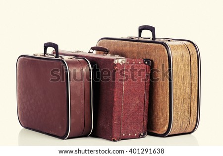 old vintage suitcase isolated on white background