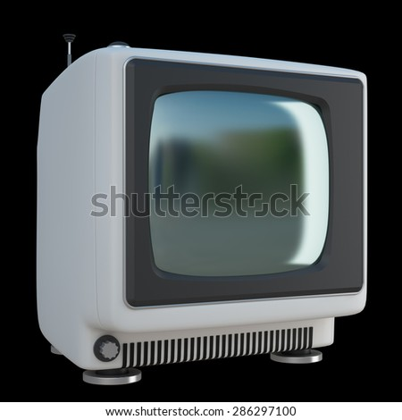 Old Vintage Television isolated on black background. High resolution 3d