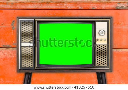 Old vintage television on  background - stock photo