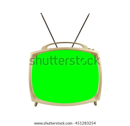 Old vintage television with antennas on white with chroma green screen.