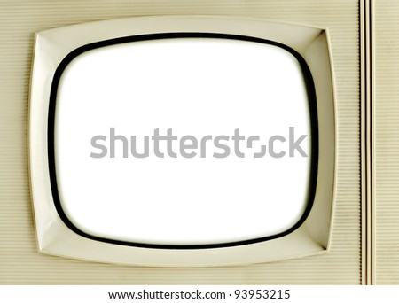 Old vintage television with blank screen - grunge background - stock photo