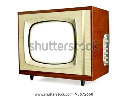 Old vintage television with blank screen isolated on white background (clipping path included) - stock photo