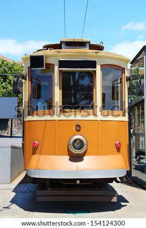 Old vintage tram in Porto downtown, Portugal - stock photo