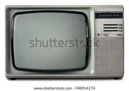 Old vintage TV isolated on white background. Retro television 1990s.
