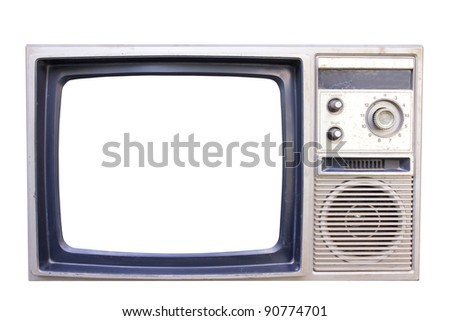 old vintage TV isolated on white background with clipping path