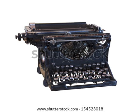 Old vintage typewriter isolated over white background - stock photo
