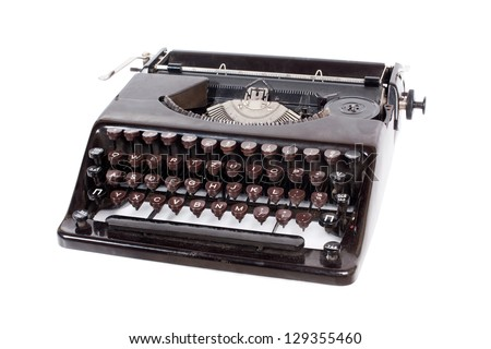 Old, vintage typewriter on white background
