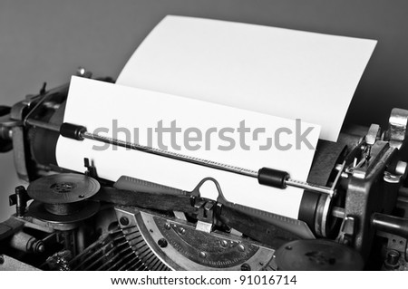 Old vintage typewriter with russian keyboard - stock photo