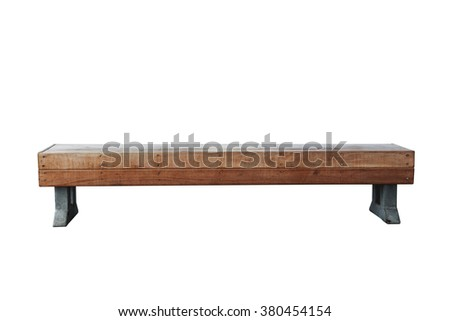 old vintage wood bench against white background - stock photo