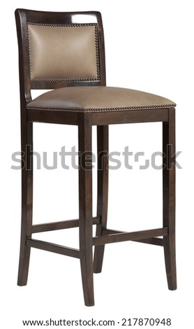 Old vintage wooden bar stool with leather - stock photo