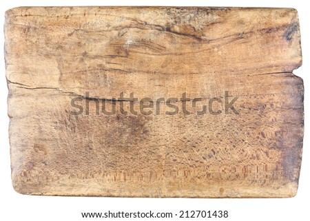 Old, vintage, wooden, chopping board isolated on white background  - stock photo