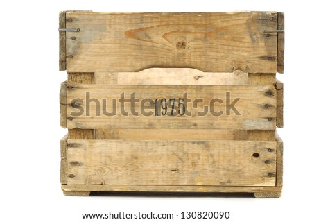 Old vintage wooden crate on a white background - stock photo