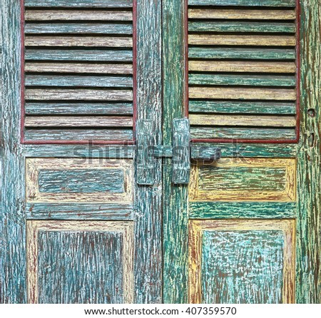 old vintage wooden door - stock photo