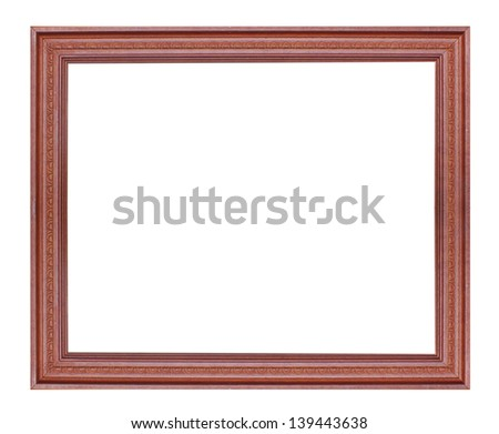 Old vintage wooden frame isolated white background.