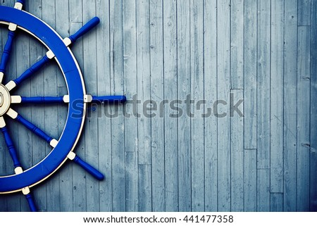 Old Vintage Wooden Helm Wheel - stock photo