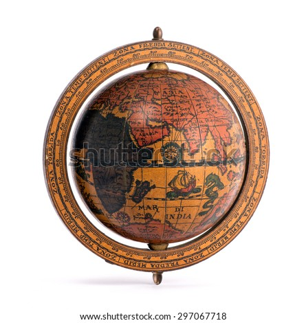 Old vintage wooden world globe showing the continents and sailing ships for planning a world tour, geography, navigation and travel isolated on white - stock photo
