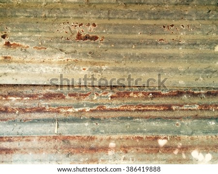 Old, vintage zinc texture background old panels. Rusted galvanized iron plate. - stock photo