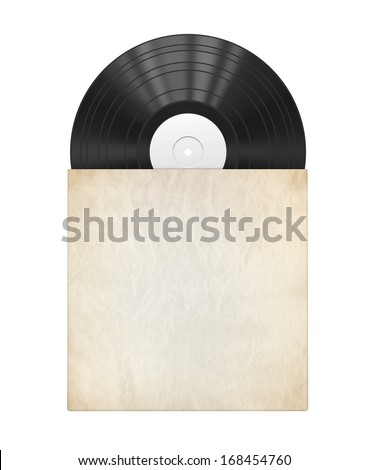 Old vinyl record in a paper case - stock photo