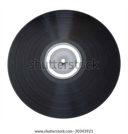 Old vinyl record isolated on white background with clipping path