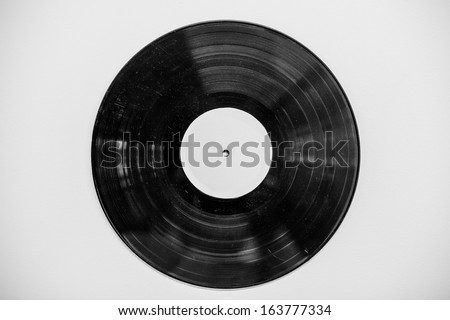 Old vinyl record on wall